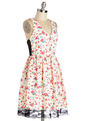 Instantly Adorable Dress - Multi, Floral, Cutout, Lace, Casual, A-line, Sleeveless, Summer, Woven, Good, V Neck, Lace, Mid-length, Social Placements