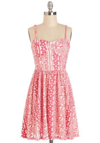 Bonita Vacation Dress - Pink, White, Print, Casual, Sundress, A-line, Spaghetti Straps, Good, Sweetheart, Summer, Knit, Mid-length