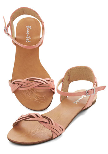 Authentic Attitude Sandal - Flat, Faux Leather, Pink, Solid, Braided, Casual, Beach/Resort, Pastel, Summer