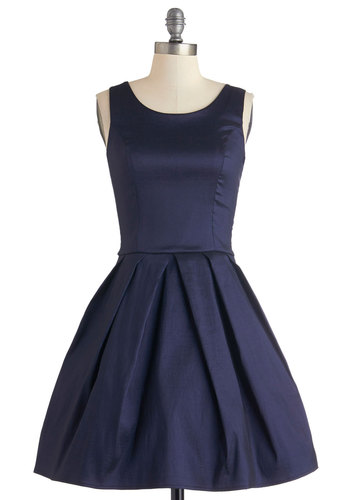 Meant to Bijou Dress in Navy - Mid-length, Woven, Blue, Solid, Bows, Cutout, Pleats, Special Occasion, Prom, Wedding, Bridesmaid, Fit & Flare, Tank top (2 thick straps), Better, Scoop, Pockets, Homecoming, Cocktail