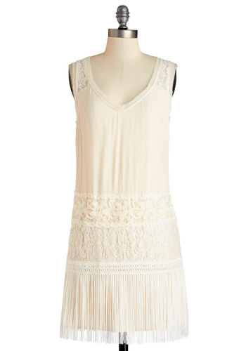 Give 'Em the Dazzle Dress - Cream, Fringed, Lace, Party, Vintage Inspired, 20s, Shift, Sleeveless, Woven, Better, Scoop, Short