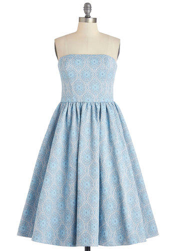 No Small Fete Dress - Blue, Print, Special Occasion, Prom, Party, Fit & Flare, Strapless, Summer, Woven, Best, Long, Pockets, Wedding, Bridesmaid