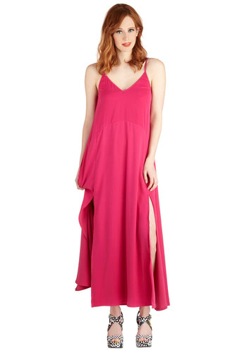 Route to Remarkable Dress - Pink, Solid, Casual, Maxi, Summer, Woven, Good, V Neck, Long, Beach/Resort, Spaghetti Straps, Girls Night Out
