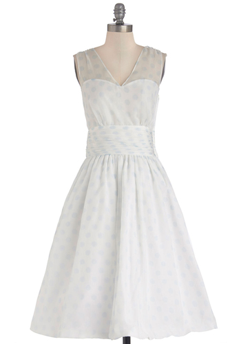 Professionally Posh Dress in Dots - Long, White, Special Occasion, Wedding, Party, Bride, Fit & Flare, Sleeveless, Better, V Neck, Blue, Pockets, Ruching, Vintage Inspired, 50s, 60s, Exclusives, Full-Size Run, Polka Dots