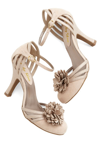 Take a Dance on Me Heel - Mid, Faux Leather, Cream, Solid, Flower, Prom, Wedding, Party, Bride, Darling, Better, Strappy, Bridesmaid