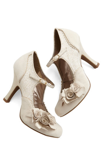 Picture Glitz Heel - High, Woven, Cream, Solid, Flower, Scallops, Wedding, Party, Graduation, Bride, Mary Jane