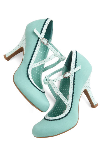 Smart and Snazzy Heel in Seabreeze - High, Woven, Blue, Solid, Polka Dots, Party, Daytime Party, Variation, Better, Social Placements