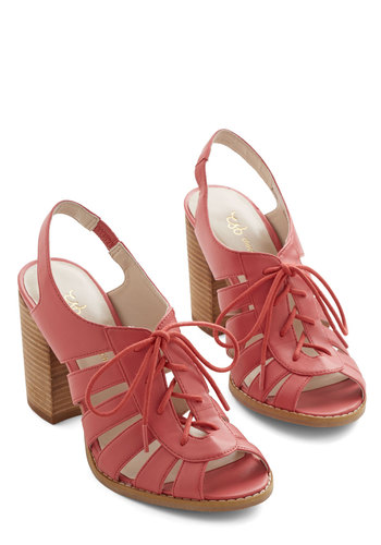 Morning, Swoon, and Night Heel in Coral - Mid, Faux Leather, Coral, Solid, Daytime Party, Spring, Summer, Variation