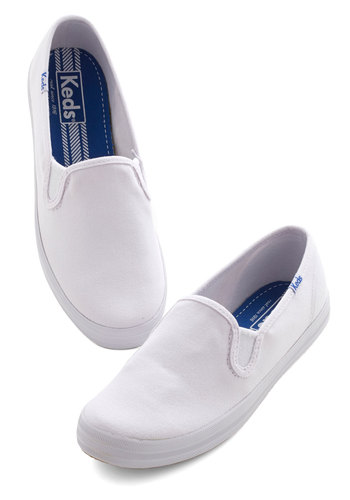 Well Done, Ole' Sporty Flat by Keds - Flat, Woven, White, Solid, Casual, Minimal, Better, 90s, Summer, Social Placements