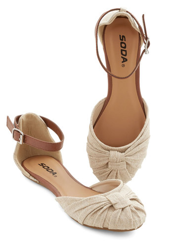 Twist It Up Flat - Woven, Flat, Cream, Solid, Ruching, Casual, Good, Tan, Summer