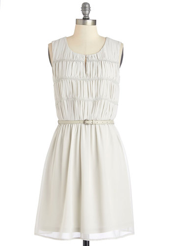 Tribute to Taste Dress - Grey, Solid, Ruching, Casual, A-line, Sleeveless, Good, Scoop, Woven, Belted, Mid-length