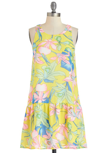 Redefine Radiance Dress - Multi, Floral, Casual, Beach/Resort, Drop Waist, Sleeveless, Summer, Woven, Good, Scoop, Mid-length