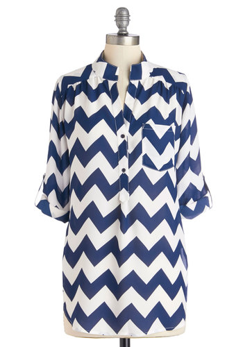 Please Allow Me Top in Navy - Woven, Mid-length, White, Chevron, Buttons, Pockets, Work, 3/4 Sleeve, Variation, Blue, Tab Sleeve, Blue, Nautical, Top Rated