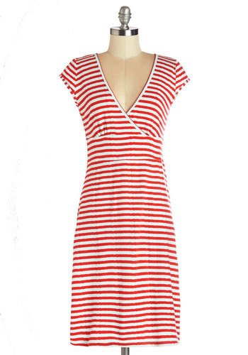 Sweetest Choice Dress by Blutsgeschwister - Stripes, Casual, Shift, Cap Sleeves, Better, International Designer, V Neck, Mid-length, Knit, Multi, Red, Mint