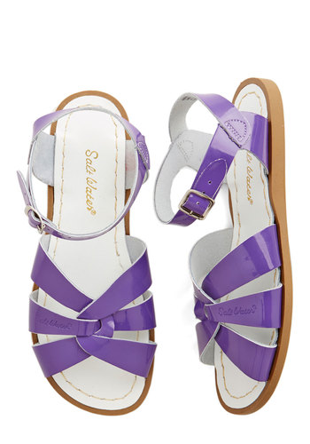 Salt Water Sandal in Purple by Salt Water Sandals - Flat, Leather, Purple, Solid, Cutout, Casual, Beach/Resort, Variation, Summer, Nautical, Fruits