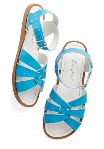 Outer Bank on It Sandal in Turquoise by Salt Water Sandals - Flat, Leather, Blue, Solid, Cutout, Beach/Resort, Summer, Variation, Nautical
