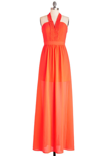 Radiant Resort Dress - Orange, Solid, Pleats, Casual, Beach/Resort, Maxi, Woven, Better, V Neck, Long, Chiffon, Halter, Summer