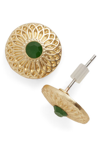Refined Regalia Earrings - Green, Solid, Gold, Social Placements