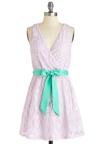 Lyrical Language Dress - Lavender, Solid, Lace, Belted, Daytime Party, A-line, Sleeveless, Summer, Woven, Good, V Neck, Mid-length, Blue, Pastel