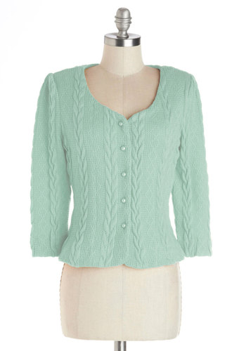 Honeycomb, I'm Home Cardigan in Mint - Short, Knit, Mint, Solid, Buttons, Work, Daytime Party, Vintage Inspired, Pastel, Darling, Long Sleeve, Spring, Variation, Green, Long Sleeve, 40s, 50s
