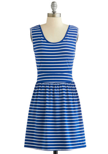 Lakeshore Picnic Dress by Tulle Clothing - Blue, White, Stripes, Casual, Nautical, A-line, Tank top (2 thick straps), Exclusives, Scoop, Mid-length, Knit, Bows, Americana