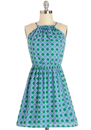 Island Vibes Dress - Green, Blue, White, Print, Cutout, Casual, A-line, Sleeveless, Good, Scoop, Short, Woven