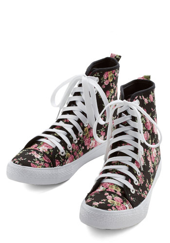 Start to Finish Sweet Boot in Black - Low, Woven, Black, Pink, White, Casual, Urban, Good, Lace Up, Floral, Variation, Social Placements