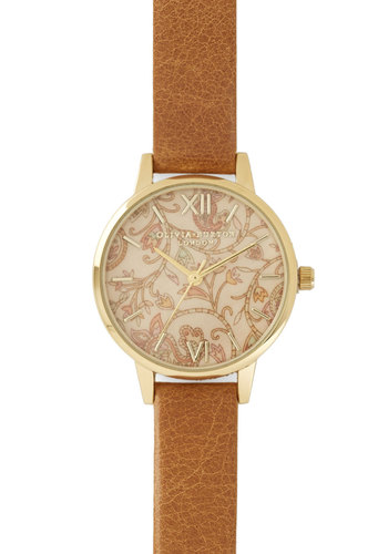 Hour Garden Watch by Olivia Burton - Tan, Multi, Paisley, Luxe, Gold, Better, International Designer, Leather, Social Placements