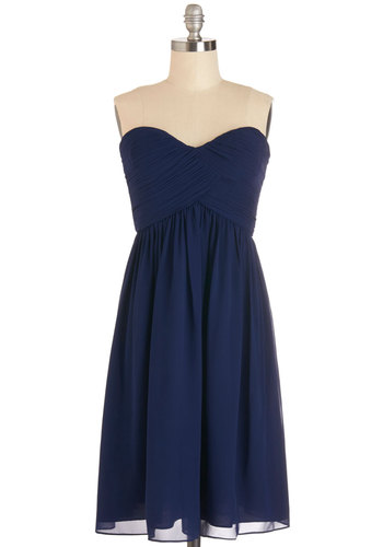 Flirting with the Idea Dress in Navy - Prom, Wedding, Bridesmaid, Homecoming, Short, Chiffon, Woven, Blue, Solid, Ruching, Special Occasion, Strapless, Variation, Sweetheart, Cocktail