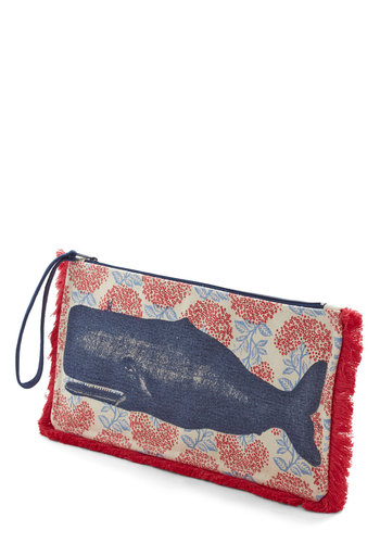 All's Whale that Ends Well Makeup Bag - Cotton, Woven, Multi, Nautical, Better, Red, Blue, Tan / Cream, Print with Animals, Travel, Gals