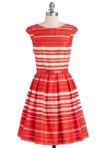 Principal Performer Dress - Coral, White, Stripes, Lace, Fit & Flare, Cap Sleeves, Best, Scoop, Woven, Belted, Party, Daytime Party, Mid-length