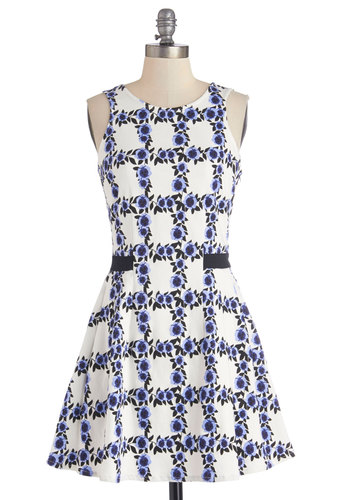 Orchard House Party Dress by Sugarhill Boutique - Floral, Daytime Party, A-line, Sleeveless, Better, International Designer, Scoop, Mid-length, Knit, Multi, Blue, White, Show On Featured Sale
