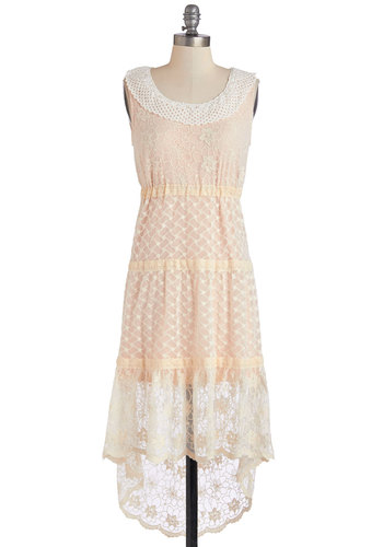 May Musings Dress - Tan / Cream, Crochet, Lace, Tiered, Long, Sheer, Lace, Pink, Casual, Pastel, Sleeveless, Scoop