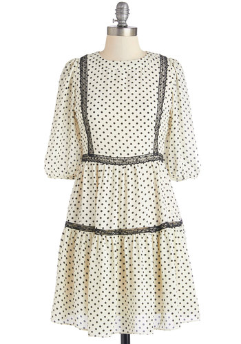 Countryside Stylista Dress - White, Black, Polka Dots, Lace, Casual, A-line, Short Sleeves, Better, Crew, Woven, Mid-length, 3/4 Sleeve