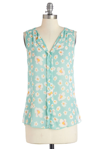 Isle Be Seeing You Top - Sheer, Mid-length, Floral, Buttons, Sleeveless, Spring, Blue, Sleeveless, Blue
