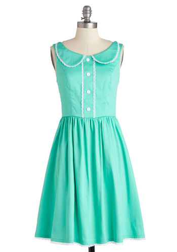 Dandelion Hearted Dress in Mint - Mid-length, Woven, Mint, White, Solid, Buttons, Lace, Peter Pan Collar, Casual, A-line, Sleeveless, Better, Collared, Variation