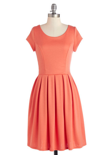 Be a Good Port Dress in Orange - Mid-length, Knit, Orange, Solid, Bows, Cutout, Casual, A-line, Better, Scoop, Cap Sleeves, Variation