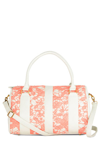 Pretty Purchases Weekend Bag by Darling - Coral, Lace, Better, International Designer, Faux Leather, Mixed Media, Lace, White, Daytime Party, Work, Luxe, Urban