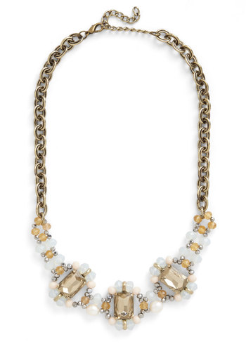 Dazzle in the Daylight Necklace - Tan, Cream, White, Solid, Beads, Rhinestones, Statement, Good, Gold