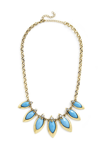 Coffee Shop Celebration Necklace in Blue - Blue, Solid, Statement, Gold, Variation, Social Placements