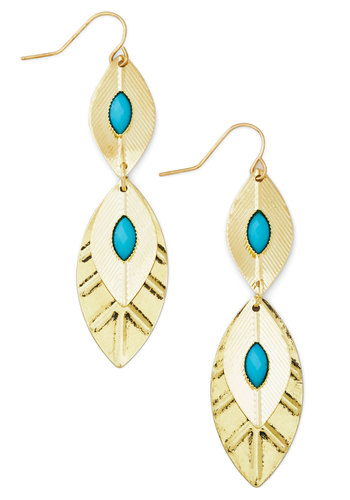Behold the Breeze Earrings - Blue, Solid, Tiered, Festival, Gold, Social Placements, Boho, Fall