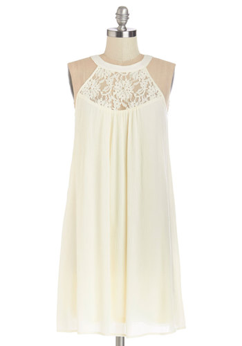 Ethereal Afternoon Dress - Cream, Solid, Lace, Casual, Tent / Trapeze, Sleeveless, Summer, Woven, Good, Halter, Mid-length, Lace