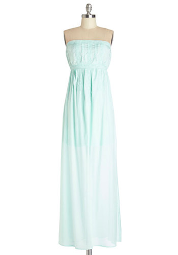 Recherché Sight Dress - Mint, Solid, Lace, Casual, Pastel, Maxi, Strapless, Summer, Woven, Long, Trim
