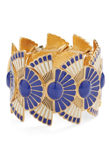 Loyal Fanfare Bracelet in Cobalt - Blue, White, Solid, Vintage Inspired, 20s, 30s, Statement, Gold, Variation, Press Placement, Party