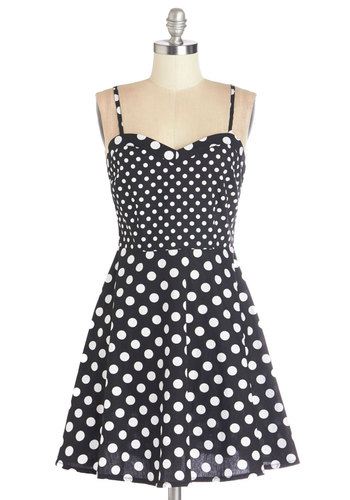 Marvelous Maneuver Dress - Black, White, Polka Dots, Casual, Sundress, A-line, Sleeveless, Summer, Woven, Good, Sweetheart, Vintage Inspired, 50s, Mid-length