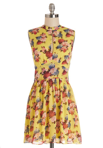 Exchanging Pleasantries Dress - Multi, Floral, Cutout, Casual, A-line, Sleeveless, Summer, Woven, Good, Mid-length, Yellow, Vintage Inspired, 40s