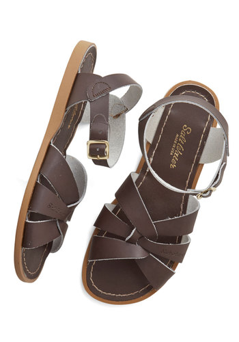 Salt Water Sandal in Brown by Salt Water Sandals - Leather, Brown, Beach/Resort, Summer, Flat, Solid, Casual, Variation, Nautical, Festival
