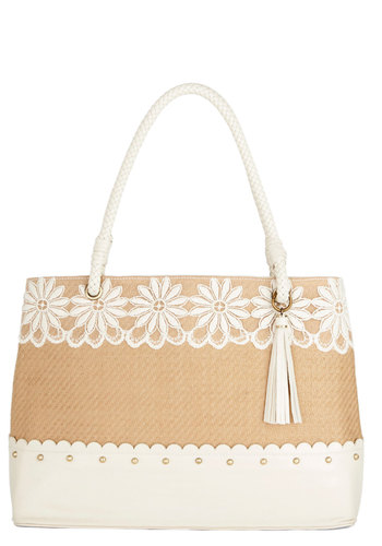 When in Venice Beach Bag by Darling - Tan, White, Solid, Lace, Scallops, Studs, Trim, Daytime Party, Beach/Resort, Better, International Designer, Woven, Mixed Media, Tan / Cream, Work, Press Placement