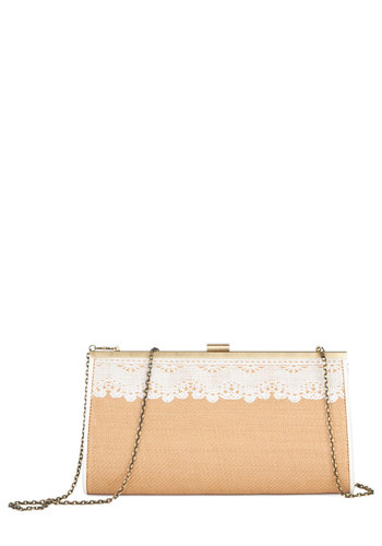 Romantic Reunion Clutch by Darling - Tan, White, Solid, Lace, Trim, Daytime Party, Good, International Designer, Woven, Social Placements