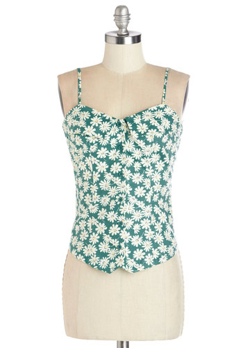 The Prettiest Pick Top - Better, Green, Sleeveless, Summer, Mid-length, Green, Floral, Buttons, Spaghetti Straps, White, Vintage Inspired, 90s, Good